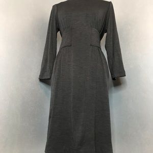 BCBGMAXAZRIA Dark Grey Dress w/Detailed Waist Line